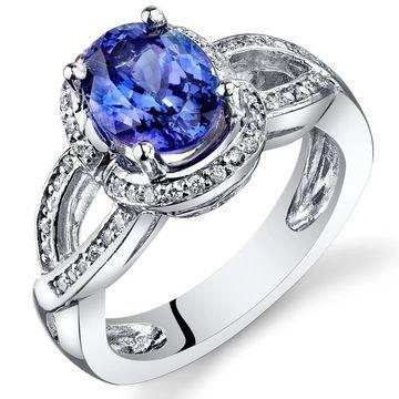 Oravo 14k White Gold Oval Shape Tanzanite Diamond Ring 2.70 carat Size - 6.5