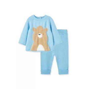 Little Me Newborn 2-Piece Bear Shirt And Pant Set In Blue