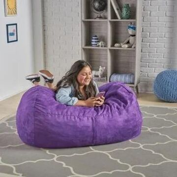Delilah Traditional 4 Foot Suede Bean Bag Chair by Christopher Knight Home (Purple)