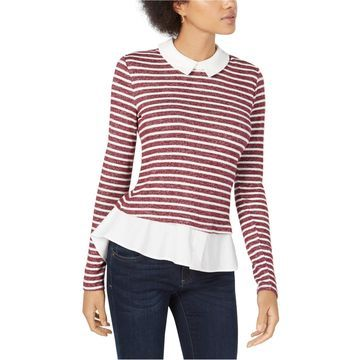 maison Jules Womens Striped Layered Pullover Blouse