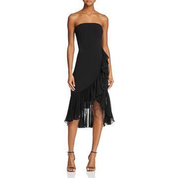 Carmen Marc Valvo Womens Strapless Ruffled Cocktail Dress