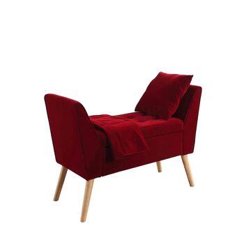 ORE International Midcentury Red Storage Bench   HB4699