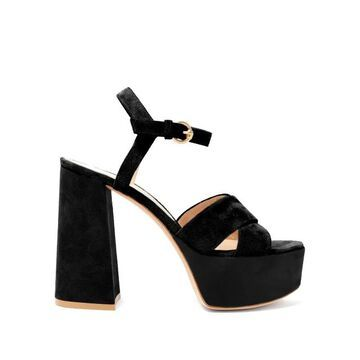 Gianvito Rossi - Crossover-front 70 Platform Suede Sandals - Womens - Black