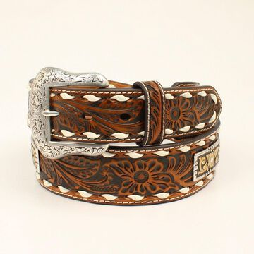 Nocona N2414808-44 Floral Embossed Strap Conchos Leather Mens Belt & Buckle, Tan - Size 44