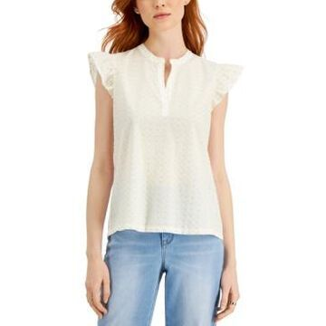 Style & Co Petite Flutter Sleeve Blouse, Created for Macy's