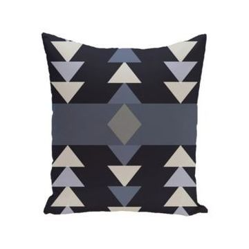 16 Inch Navy Blue and Light Gray Decorative Geometric Throw Pillow