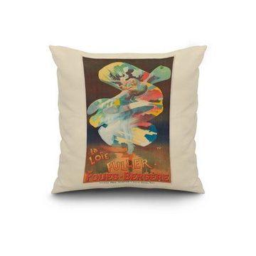 France - Folies - Bergere - La Loie Fuller - (artist: Pal Jean De Paleologue c. 1897) - Vintage Advertisement (20x20 Spun Polyester Pillow, White Border)