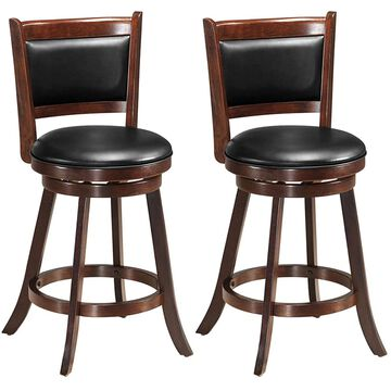 Goplus Set of 2 Contemporary/Modern Faux Leather Upholstered Swivel Dining Side Chair (Wood Frame) in Brown | HW58965
