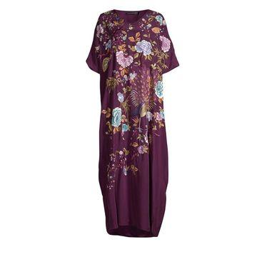 Natori Couture Japanese Garden Silk Caftan