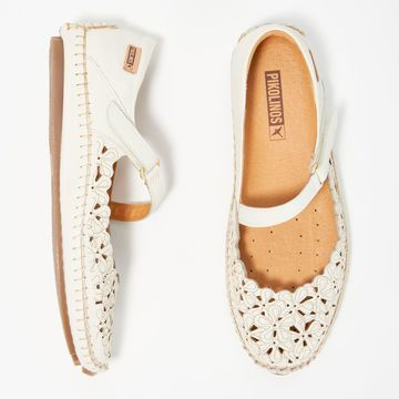 Pikolinos Floral Perforated Leather Mary Janes - Jerez