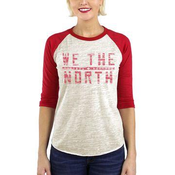 Women's Majestic Threads Cream Toronto Raptors Hometown Slogan Burnout 3/4-Sleeve Raglan Tri-Blend T-Shirt