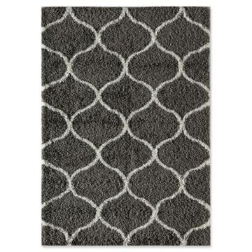 Rugs America Links 5' x 8' Shag Area Rug in Charcoal/Ivory