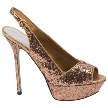 Sergio Rossi Gold Leather Sandals