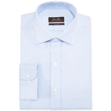 Classic/Regular-Fit Non-Iron Blue Twill Houndstooth Dress Shirt, Created for Macy's
