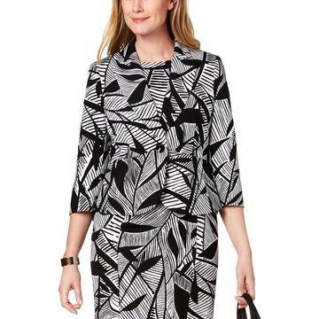 Kasper Womens One-Button Blazer Printed Three-Quarter Sleeves