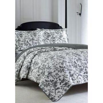 Laura Ashley Twin Amberley Black/White Quilt Set - -