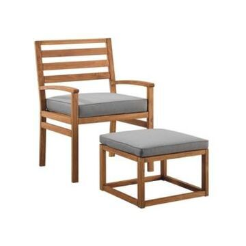 Walker Edison Acacia Wood Outdoor Patio Chair with Pull Out Ottoman