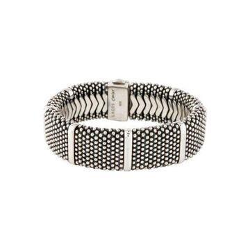 Wide Caviar Bead Bracelet silver