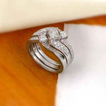 De Couer 14k White Gold 1ct TDW Diamond Bridal Ring Set