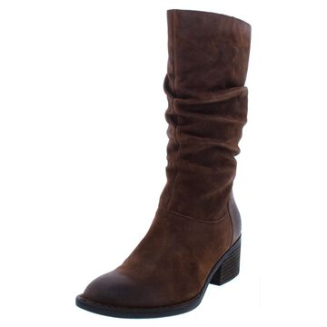 Born Womens Peavy Leather Distressed Mid-Calf Boots