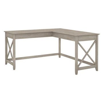 Bush Furniture Key West 60W L Shaped Desk, Washed Gray
