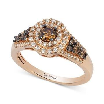Le Vian Chocolatier Chocolate Diamond and White Diamond Halo Ring (3/4 ct. t.w.) in 14k Rose Gold