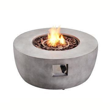 Teamson Propane fire pits 36-in W 50000-BTU Grey Tabletop Ceramic Propane Gas Fire Pit in Gray