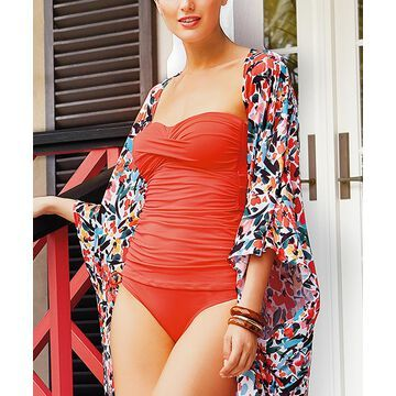 Anne Cole Women's One Piece Swimsuits COR - Coral Twist-Front Strapless One-Piece - Women