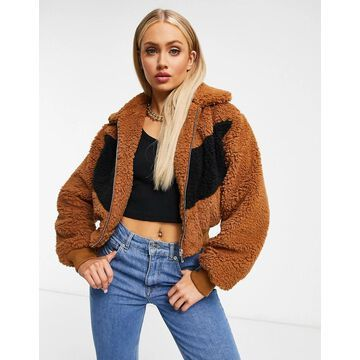 QED London cropped teddy jacket in tan
