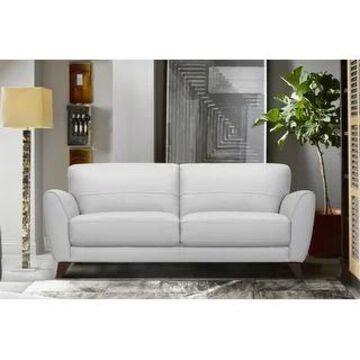 Armen Living Jedd Contemporary Sofa in Genuine Black Leather (Grey)