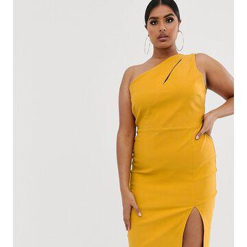 Vesper Curve one shoulder midi pencil dress in stretch with split in golden yellow