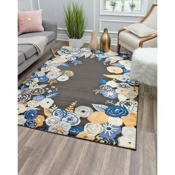 Valentina Royal Blossom Modern Floral Transitional Area Rug By Rugs America