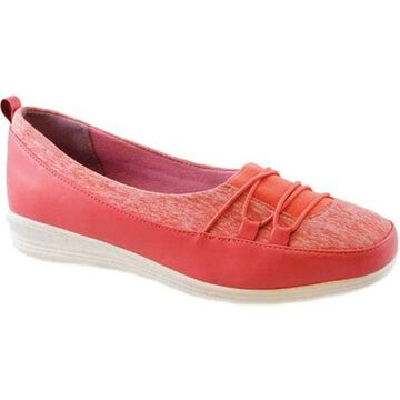 Beacon Shoes Women's Polly Sneaker Coral Stretch Fabric
