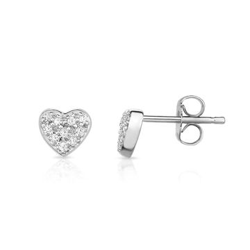 Noray Designs 14K White Gold Diamond (0.12 Ct, G-H Color, SI2-I1 Clarity) Heart Earrings - White G-H (White G-H - White)