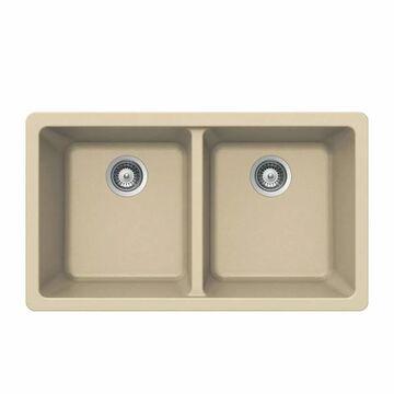 """Houzer M-200U Quartztone 33"""" Double Basin Undermount Kitchen Sink with 50/50 Split Sand Fixture Kitchen Sink Composite"""