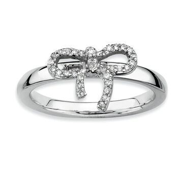 Versil Sterling Silver Stackable Bow Diamond Ring
