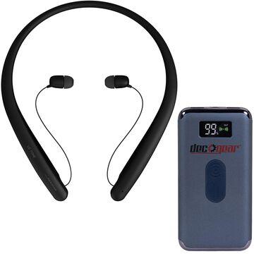LG TONE HBS-SL5 Wireless Stereo Headset, Black with Deco Gear Power Bank Bundle