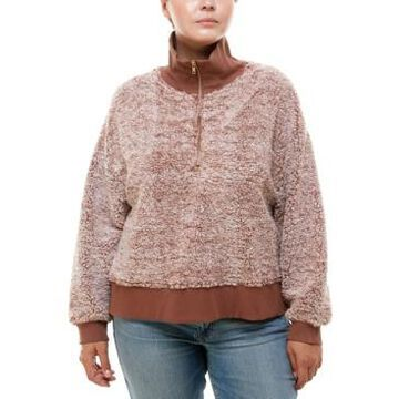 Derek Heart Trendy Plus Size Zip-Neck Faux-Sherpa Sweater