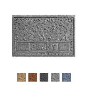 Bungalow Flooring Waterhog Paws & Bones Personalized Dog Placemat, Medium Gray, 35 x 23-in