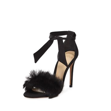 Clarita Satin Fur-Trim Sandals
