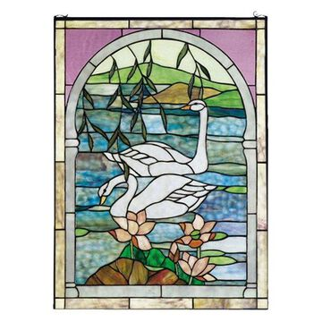 Meyda Tiffany 23868 Swans Stained Glass Window, Copperfoil Finish