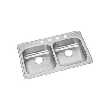 Elkay Dayton Drop-In 33-in x 22-in Satin Double Equal Bowl 3-Hole Kitchen Sink