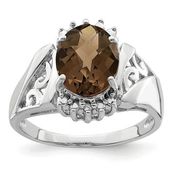 Sterling Silver Rhodium-plated Checker-cut Smoky Quartz and Diamond Ring by Versil (7)