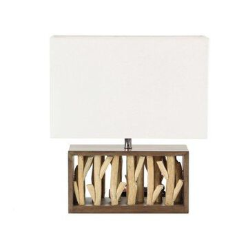 Decmode Natural Wood and Iron Rectangular Brown Table Lamp, White