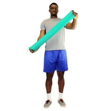 CanDo exercise band, 5-foot Singles, 30-piece dispenser, green