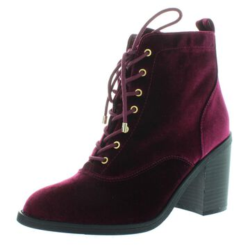 Material Girl Womens Landrey Velvet Lace-Up Booties