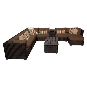 TK Classics Venice 10-Piece Outdoor Wicker Sofa Set, Cocoa