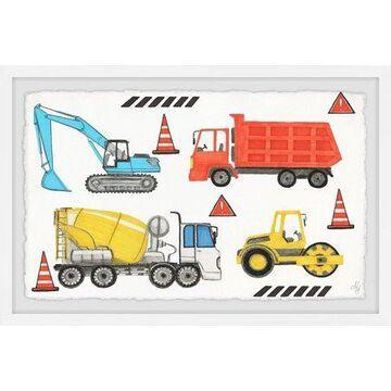 Marmont Hill Road Building Trucks Framed Wall Art