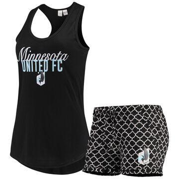 Women's Concepts Sport Black/White Minnesota United FC Slumber Ruffle Shorts & Tank Top Sleep Set