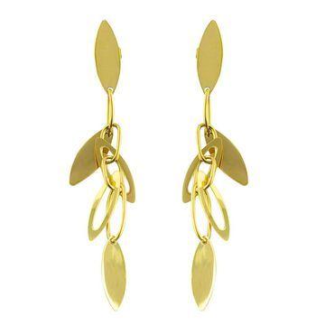 Fremada 14k Yellow Gold Interlocking Leaves Dangle Earrings